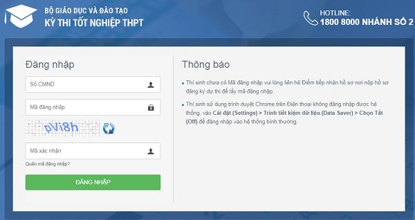 Cách đăng nhập và đổi mã đăng nhập tài khoản thi THPT quốc gia