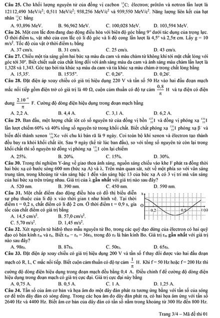 Đề thi thử nghiệm kèm đáp án môn Vật lý kỳ thi THPT quốc gia năm 2017 - 2