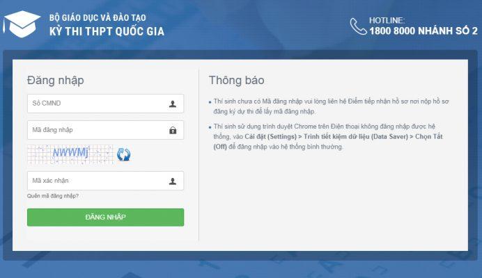 Hướng đẫn đăng nhập và tra cứu thông tin trên trang thisinh.thithptquocgia.edu.vn
