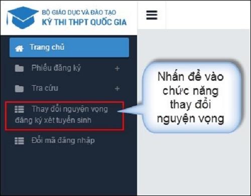 Hướng dẫn thí sinh thay đổi nguyện vọng trực tuyến và trên phiếu ĐCNV - 1