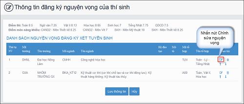 Hướng dẫn thí sinh thay đổi nguyện vọng trực tuyến và trên phiếu ĐCNV - 3