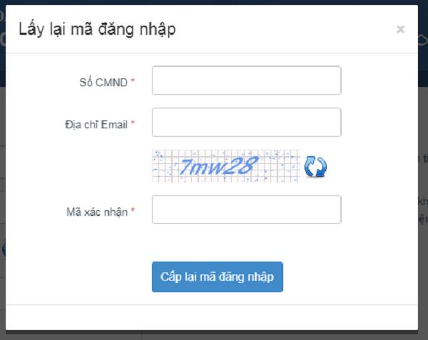 Lấy lại mã đăng nhập tài khoản trang thi THPT quốc gia