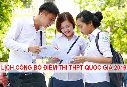 Lịch công bố kết quả thi THPT Quốc gia 2016 của tất cả các trường